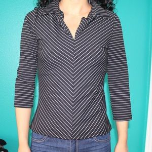 vintage black and white striped 3/4 sleeve…